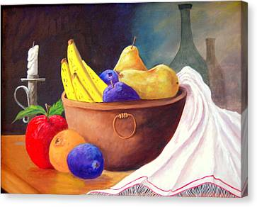 Fruit Bowl By Candle Canvas Print by Janna Columbus