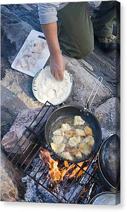 Frying Walleye Fish Fillets Canvas Print by Skip Brown