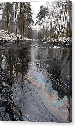 Fuel Oil Spill In A River Canvas Print