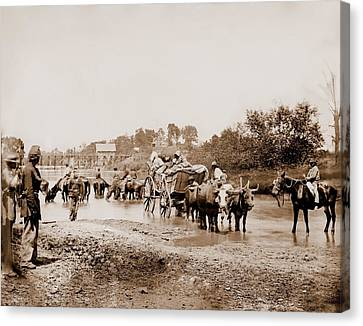 Fugitive African Americans Fording Canvas Print by Everett