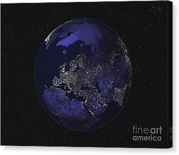Full Earth At Night Showing City Lights Canvas Print