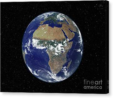 Full Earth Showing Africa And Europe Canvas Print by Stocktrek Images