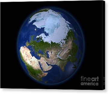 Full Earth Showing The Arctic Region Canvas Print