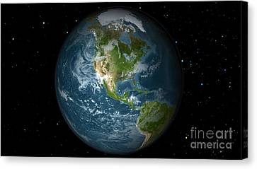 Full Earth View Showing North America Canvas Print