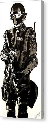 Full Length Figure Portrait Of Swat Team Leader Alpha Chicago Police In Full Uniform With War Gun Canvas Print by M Zimmerman MendyZ