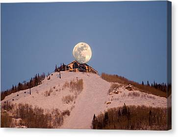 Full Moon Alpenglow Canvas Print