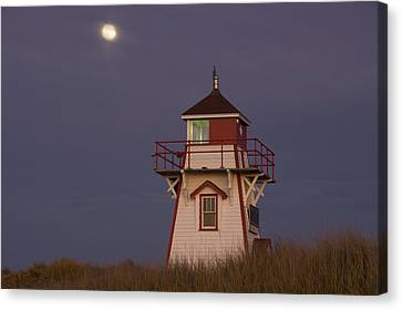 Full Moon And Covehead Lighthouse Canvas Print by John Sylvester