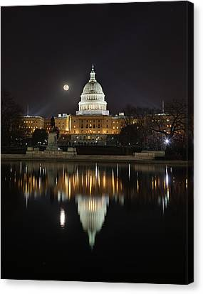 Full Moon At The Us Capitol Canvas Print by Metro DC Photography
