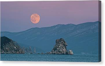 Full Moon Over Cape Laplace. Canvas Print by V. Serebryanskiy