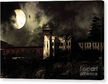 Full Moon Over Hard Time - San Quentin California State Prison - 7d18546 - Partial Sepia Canvas Print by Wingsdomain Art and Photography