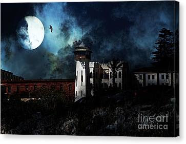 Full Moon Over Hard Time - San Quentin California State Prison - 7d18546 Canvas Print by Wingsdomain Art and Photography