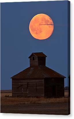 Old Barns Canvas Print - Full Moon Over Old Saskatchewan Barn by Mark Duffy