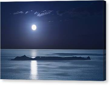 Full Moon Over Seascape Canvas Print by Anna Henly