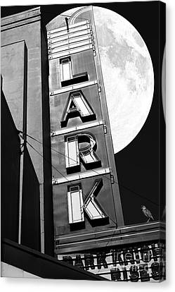 Meadowlark Canvas Print - Full Moon Over The Lark - Larkspur California - 5d18489 - Black And White by Wingsdomain Art and Photography