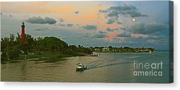 Canvas Print featuring the photograph Jupiter Lighthouse Moon Rising by Larry Nieland