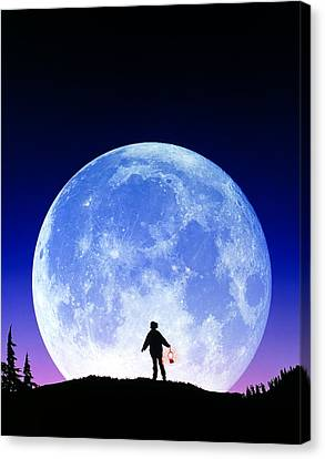 Full Moon Rising Canvas Print by David Nunuk