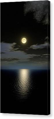 Sea Moon Full Moon Canvas Print - Full Moon Setting by Detlev Van Ravenswaay