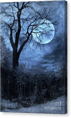 Full Moon Through Bare Trees Branches Canvas Print by Jill Battaglia