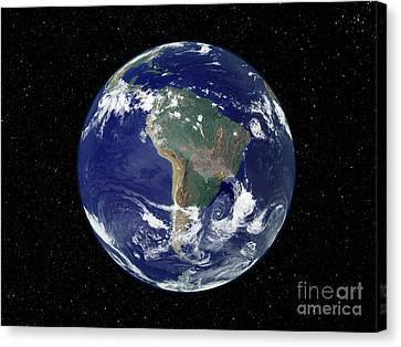 Fully Lit Earth Centered On South Canvas Print by Stocktrek Images