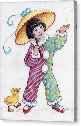 Canvas Print featuring the drawing Fun In The Rain At The Children's Parade by Dee Davis