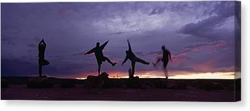 Funny Poses, Yoga And Sunset Canvas Print