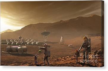 Future Mars Colonists Playing Canvas Print by Steven Hobbs