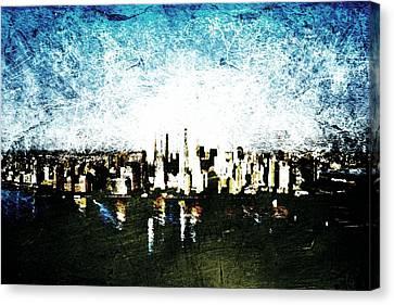 Canvas Print featuring the digital art Future Skyline by Andrea Barbieri