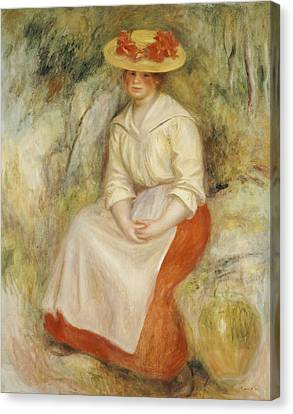 Gabrielle In A Straw Hat Canvas Print by Pierre Auguste Renoir