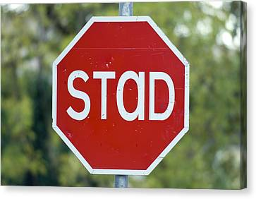 Gaelic Stop Sign Near Doocharry Canvas Print by Rich Reid