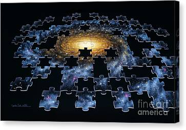 Galaxy Puzzle Canvas Print by Lynette Cook