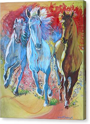 Galloping On Canvas Print by Tomas OMaoldomhnaigh