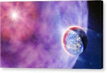 Gamma Ray Burst Hits Earth Canvas Print by Detlev Van Ravenswaay