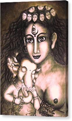 Ganesha  And Kali Canvas Print by Sri Mala