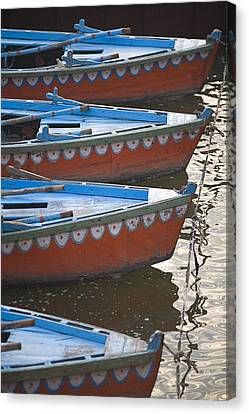 Ganges River, Varanasi, India Moored Canvas Print