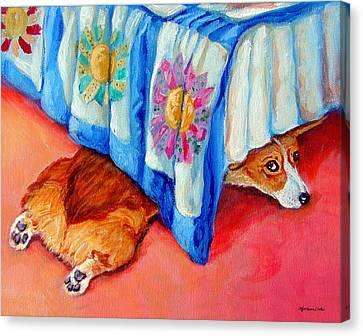 Animal Quilts Canvas Print - Garbo - Pembroke Welsh Corgi by Lyn Cook