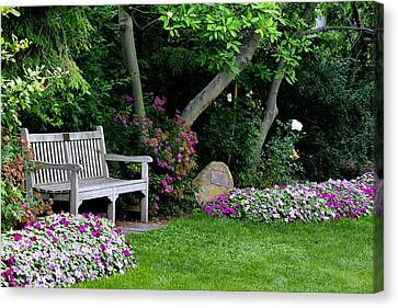 Canvas Print featuring the photograph Garden Bench by Michelle Joseph-Long