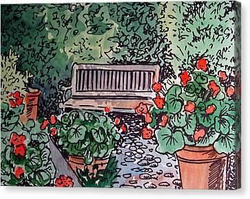 Garden Bench Sketchbook Project Down My Street Canvas Print by Irina Sztukowski