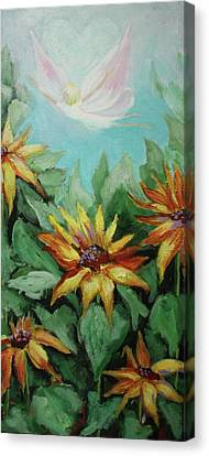 Canvas Print featuring the painting Garden Fairy by Jan Swaren