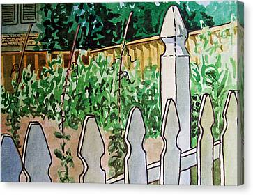 Garden Fence Sketchbook Project Down My Street Canvas Print by Irina Sztukowski