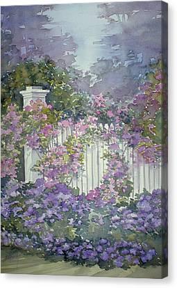 Garden Gate Roses Canvas Print