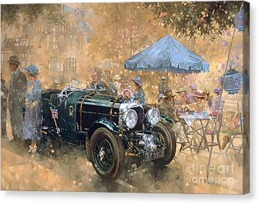 Vintage Car Canvas Print - Garden Party With The Bentley by Peter Miller