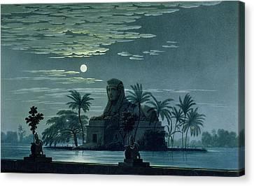 Garden Scene With The Sphinx In Moonlight Canvas Print by KF Schinkel