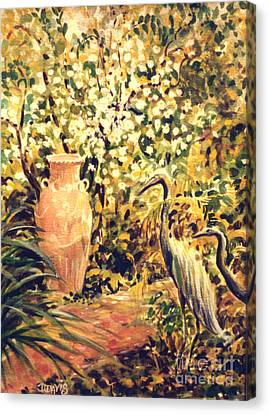 Canvas Print featuring the painting Garden Sentinels by Dee Davis