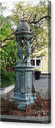 Canvas Print featuring the photograph Garden Statuary In The French Quarter by Alys Caviness-Gober