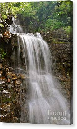 Canvas Print featuring the photograph Garden Wall Waterfall by Johanne Peale