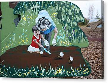 Gardening With Grandma Canvas Print by Jan Swaren