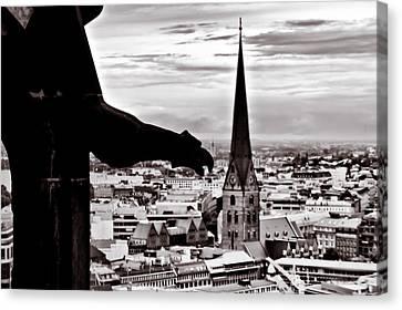 Gargoyle Over Hamburg 2 Canvas Print by Edward Myers