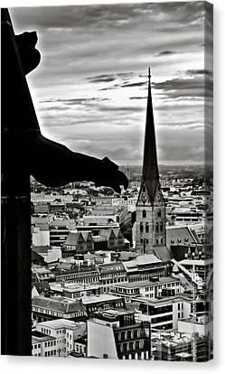Gargoyle Over Hamburg Canvas Print by Edward Myers
