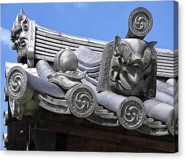 Gargoyles Of Horyu-ji Temple - Nara Japan Canvas Print by Daniel Hagerman