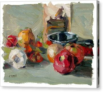 Garlic And Tomatoes Canvas Print by William Noonan